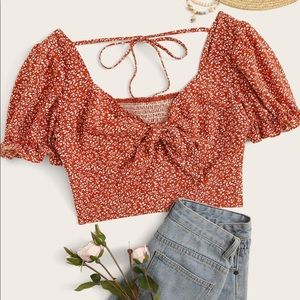SHEIN Tops - Ditsy Floral Tie Front Puff Sleeve Crop Top